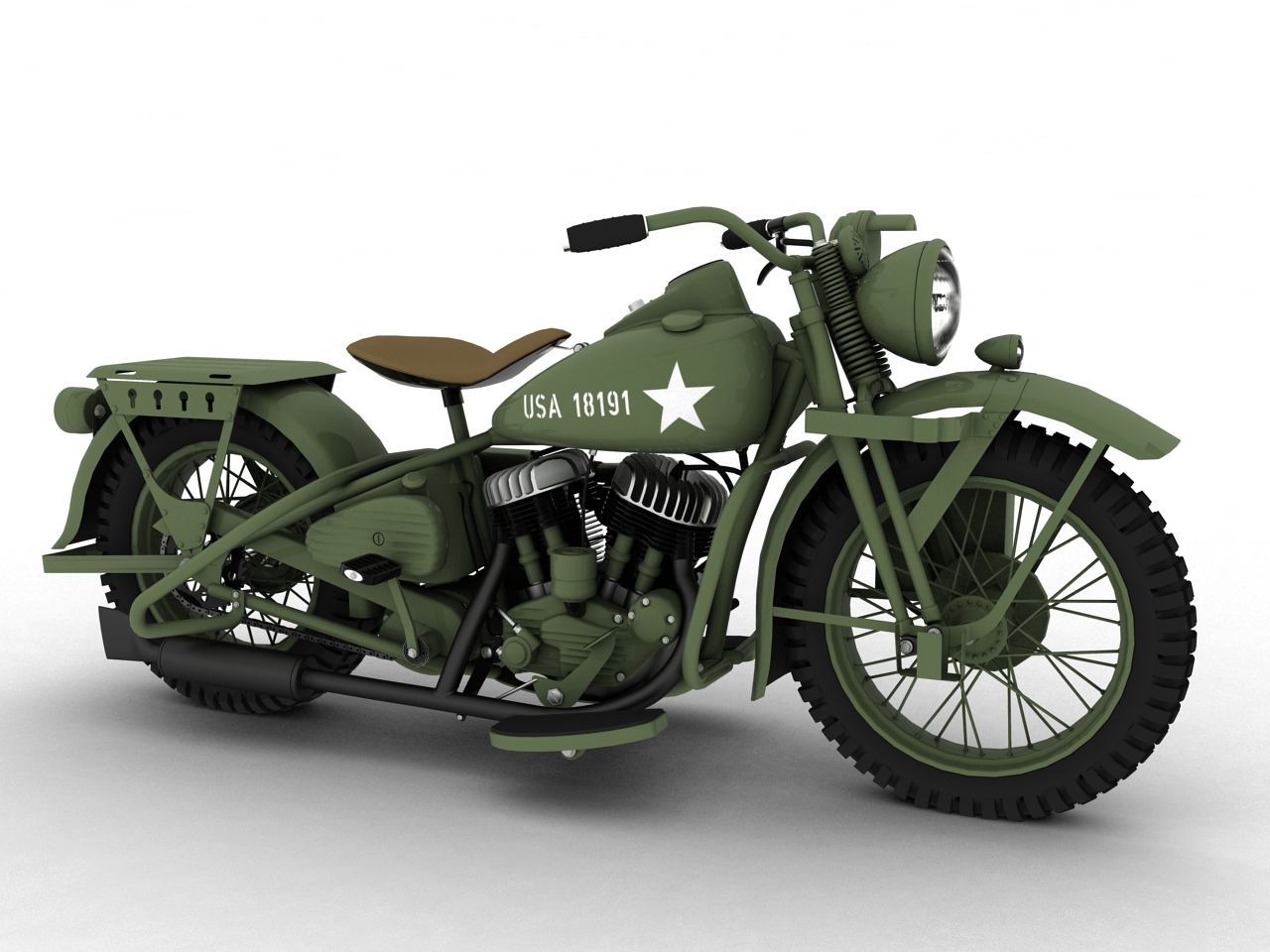 harley davidson wla 1942 ww2 3d model. Black Bedroom Furniture Sets. Home Design Ideas