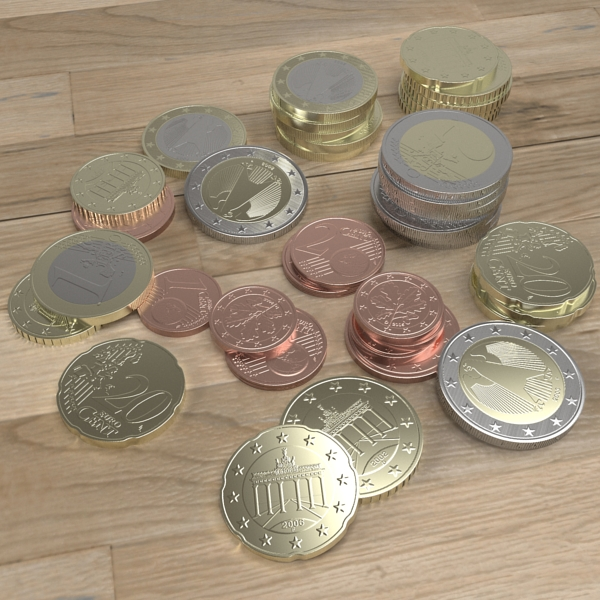 german euro coins 3d model 3ds fbx skp obj 119524