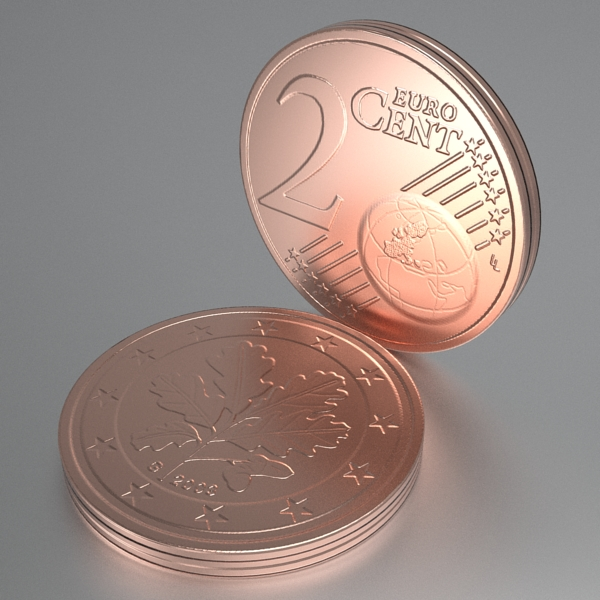 german euro coins 3d model 3ds fbx skp obj 119526