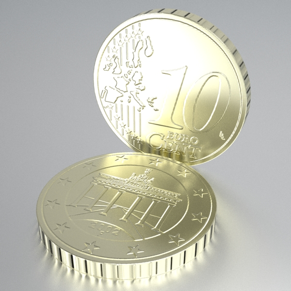 german euro coins 3d model 3ds fbx skp obj 119528
