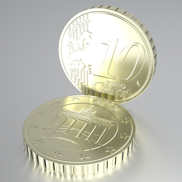german euro coins 3d model 3ds fbx skp obj 119529