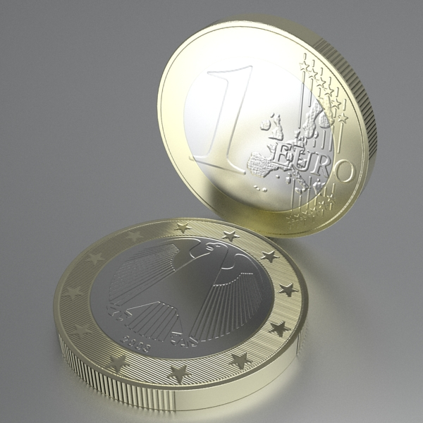 german euro coins 3d model 3ds fbx skp obj 119534