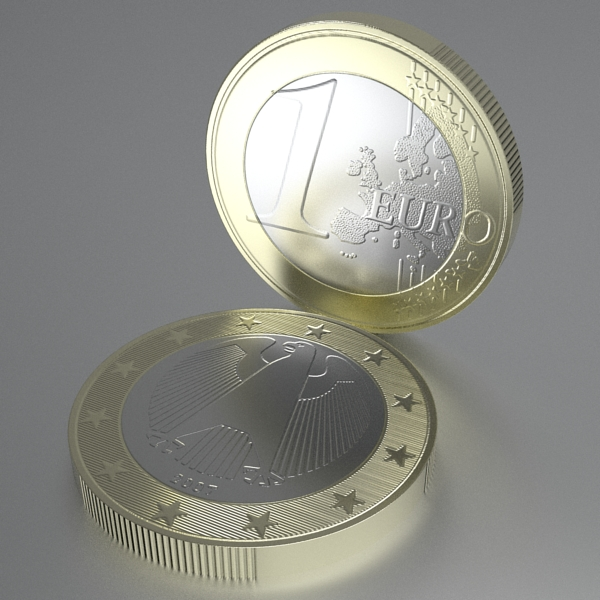 german euro coins 3d model 3ds fbx skp obj 119535