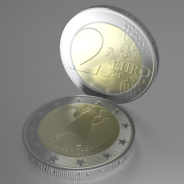 german euro coins 3d model 3ds fbx skp obj 119537