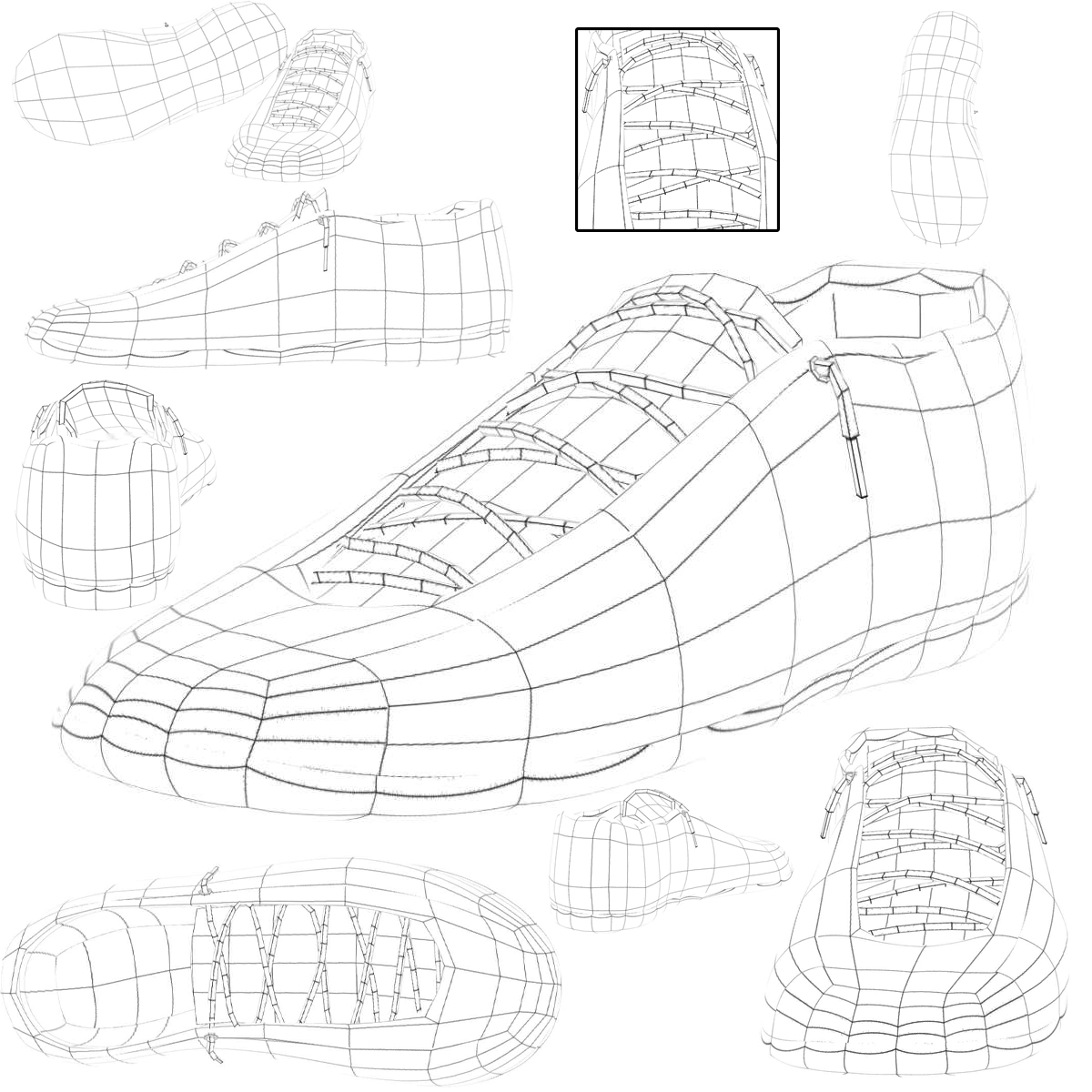 sneakers 3d model 3ds max fbx c4d ma mb obj 160393