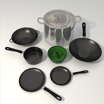 pots and pans set 3d model 3ds blend obj 103792