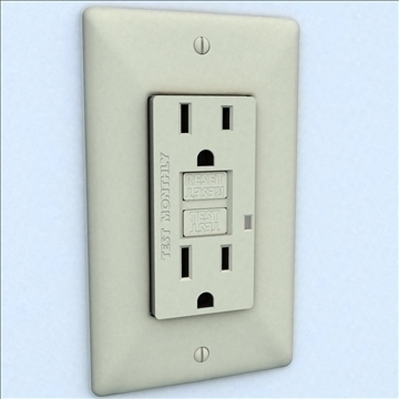 gfci electrical receptacle 3d model 3ds max lwo hrc xsi obj 104520