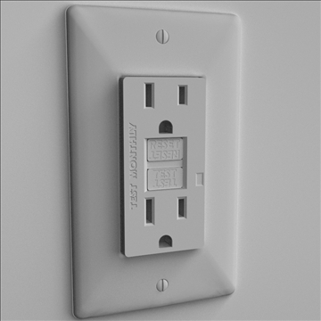 gfci electrical receptacle 3d model 3ds max lwo hrc xsi obj 104521