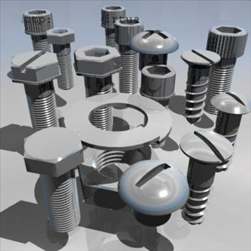 set of nuts and bolts 3d model 3ds dxf other obj 89770