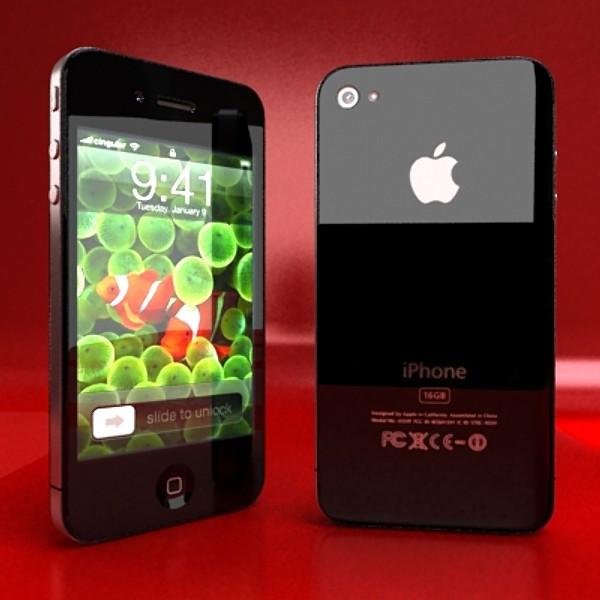 iphone iphone 4 ardleibhéal samhail réadúil 3d 3ds max fbx obj 129636