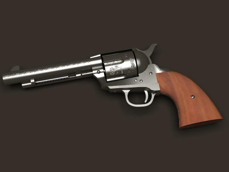 colt revolver 3d model 3ds max fbx obj 147025