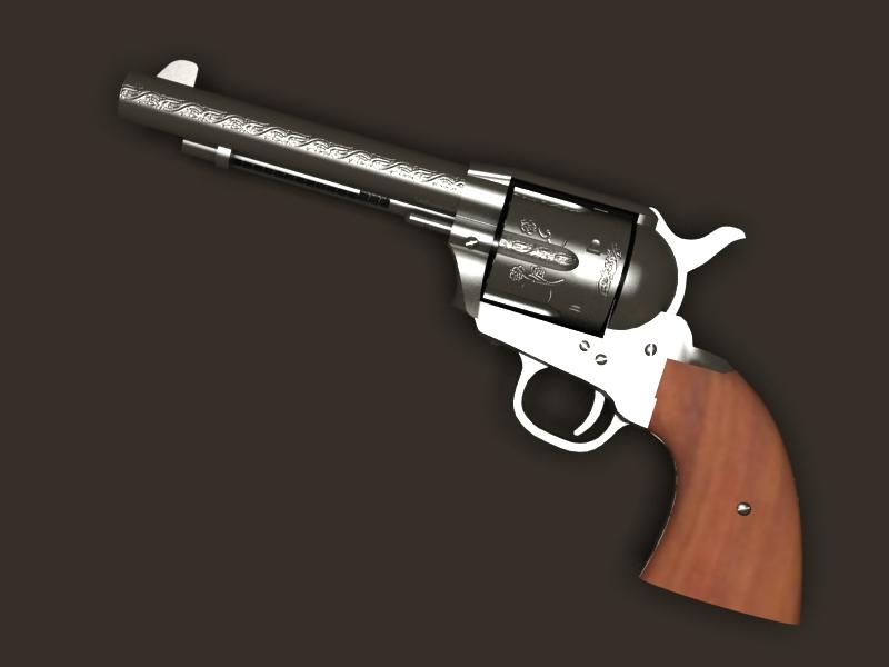 colt revolver 3d model 3ds max fbx obj 147029