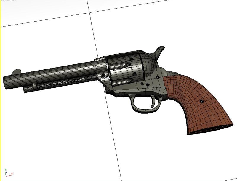 colt revolver 3d model 3ds max fbx obj 147030