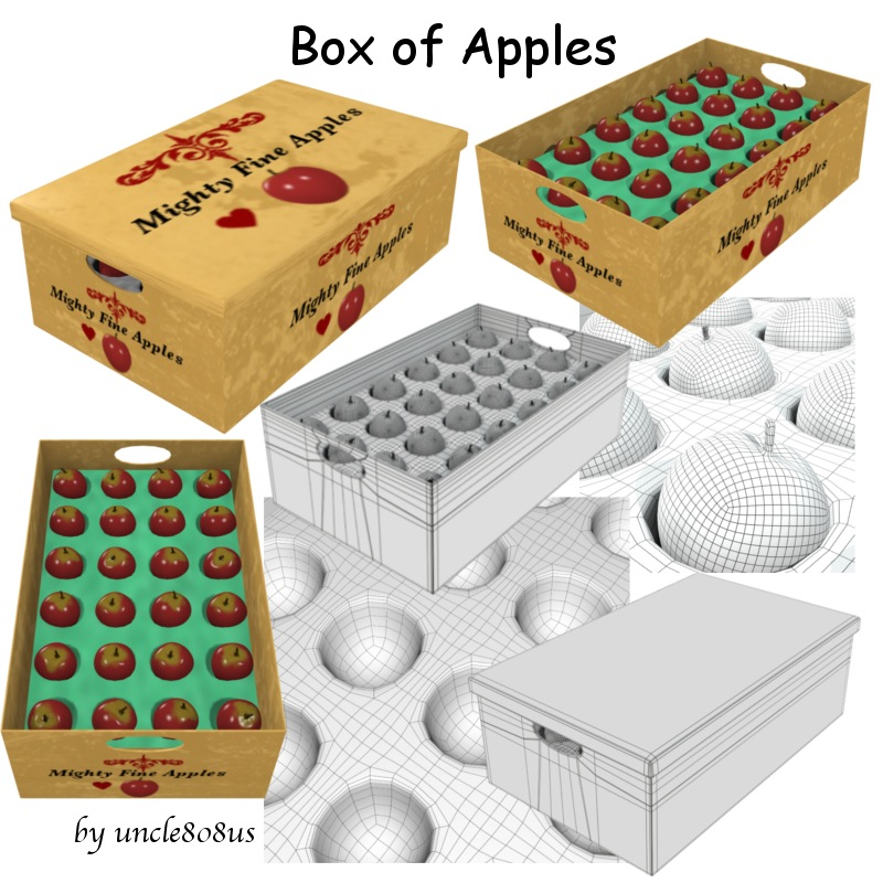 Box of Apples 3d model obj 151542