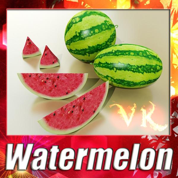 Mae ansawdd uchel watermelon res 3d model 3ds max fbx obj 133141