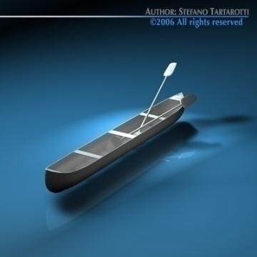 canoe with paddles 3d model 3ds dxf c4d obj 77666