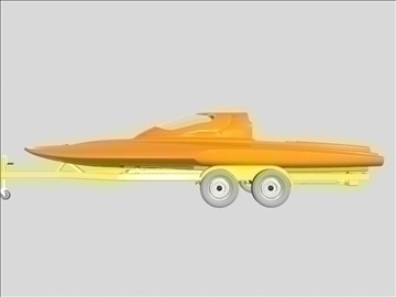 drag boat with trailer 3d model 3ds 96868