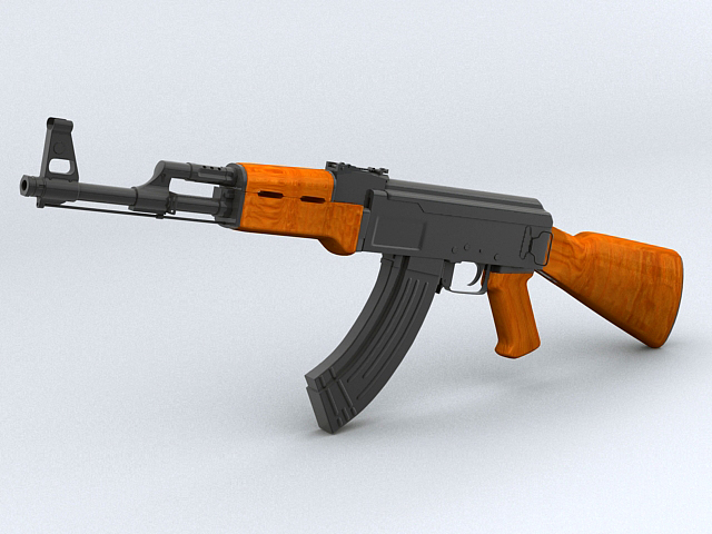ak-47 assault rifle 3d model 3ds max obj 122566