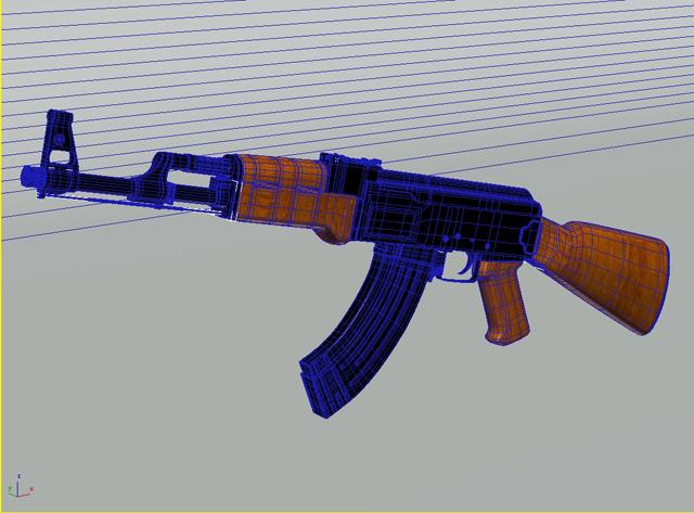 ak-47 hücum tüfəng 3d model 3ds max obj 122571