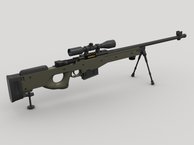 awp sniper rifle 3d model 3ds max fbx obj 147031