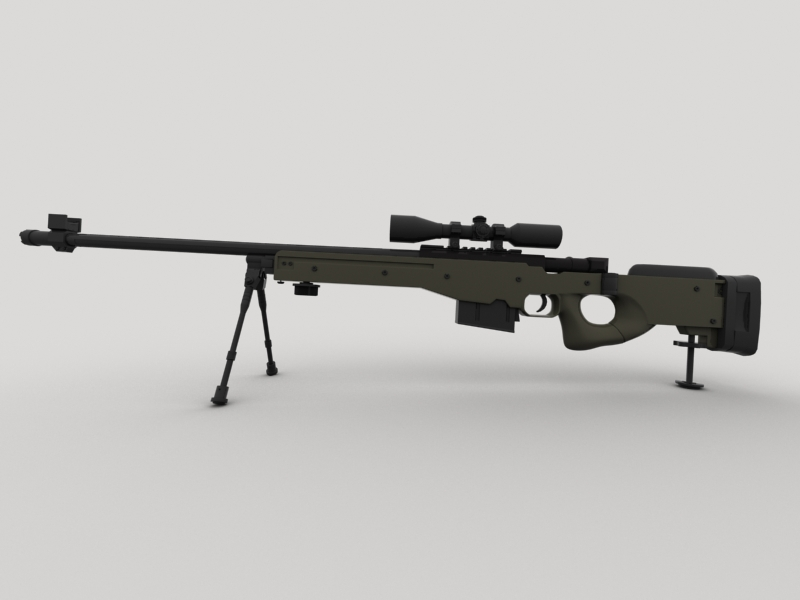 awp sniper rifle 3d model 3ds max fbx obj 147036