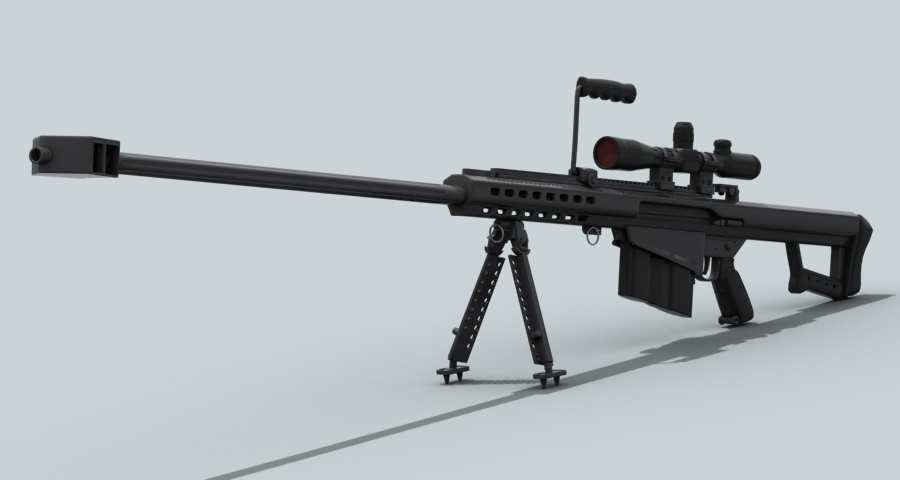 barrett m82 3d model 3ds max fbx obj 122303