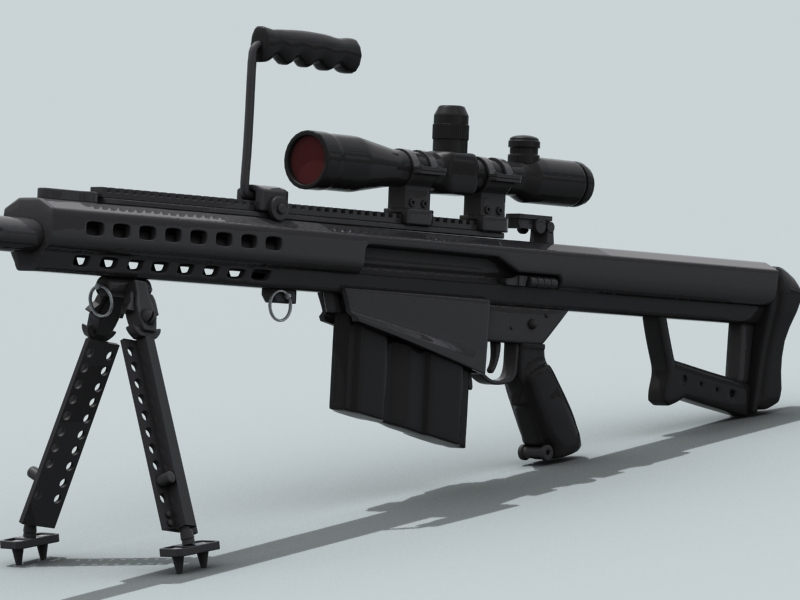 barrett m82 3d model 3ds max fbx obj 122304