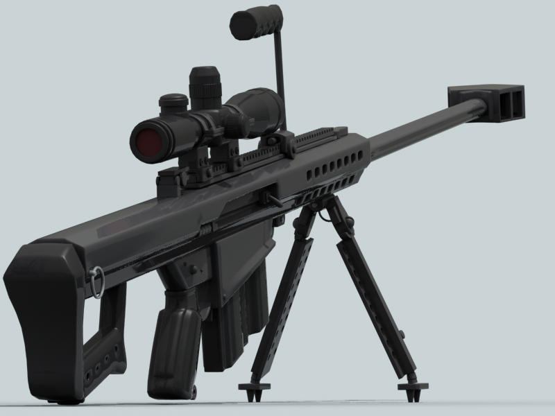 barrett m82 3d model 3ds max fbx obj 122305