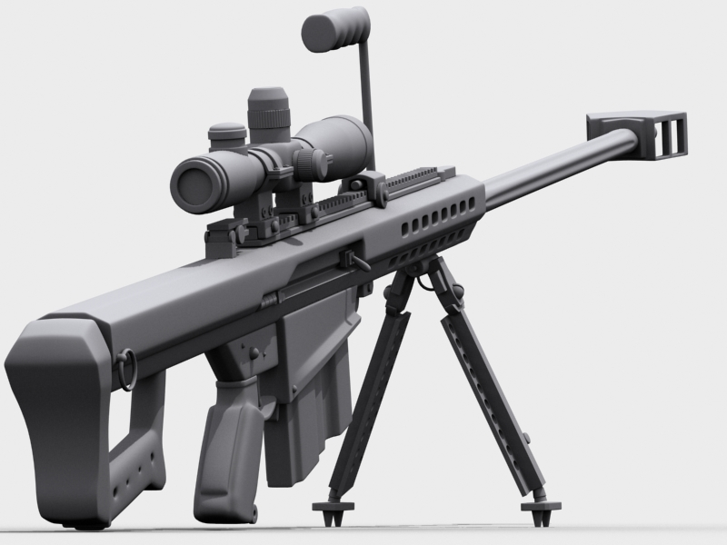 barrett m82 3d model 3ds max fbx obj 122306