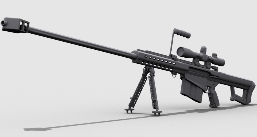 barrett m82 3d model 3ds max fbx obj 122307