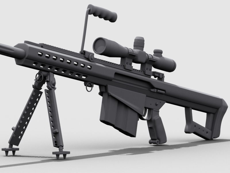 barrett m82 3d model 3ds max fbx obj 122308