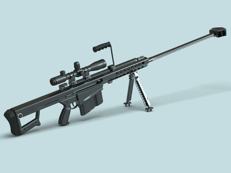 barrett m82 sniper rifle 3d model 3ds max fbx obj 146387