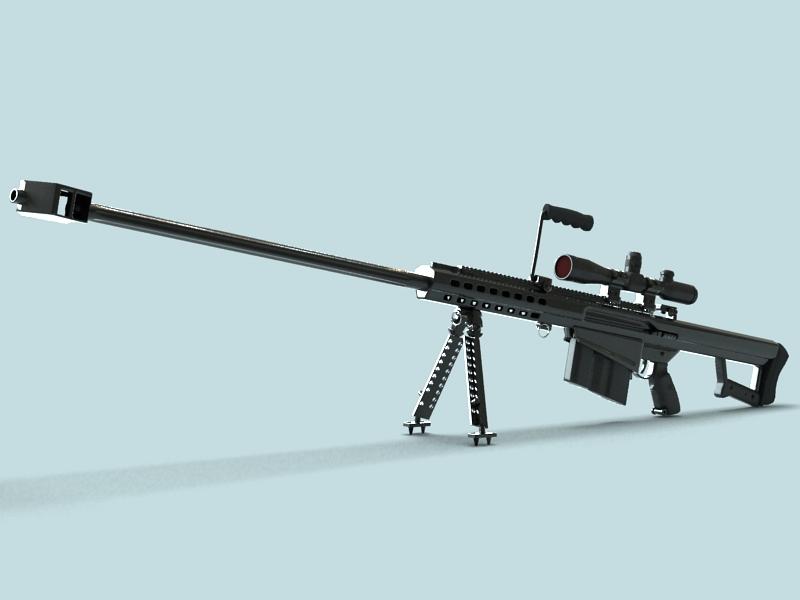 barrett m82 sniper rifle 3d model 3ds max fbx obj 146388