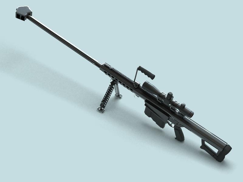 barrett m82 sniper rifle 3d model 3ds max fbx obj 146389