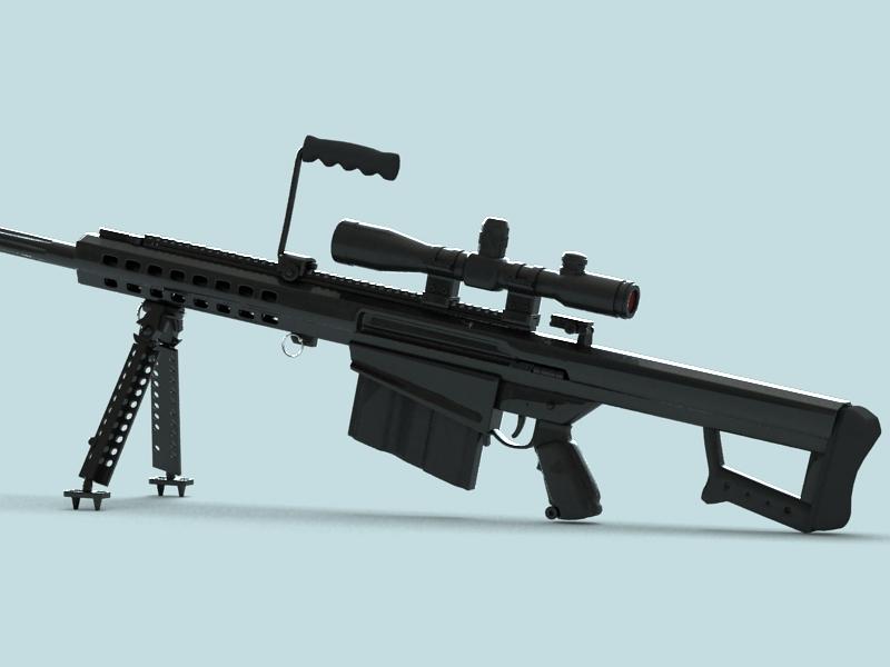 barrett m82 sniper rifle 3d model 3ds max fbx obj 146390