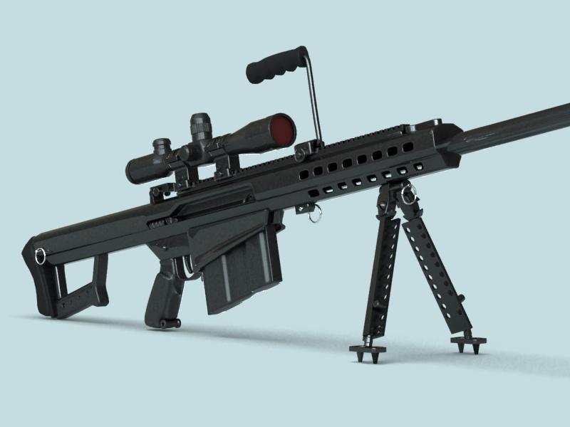 barrett m82 sniper rifle 3d model 3ds max fbx obj 146391