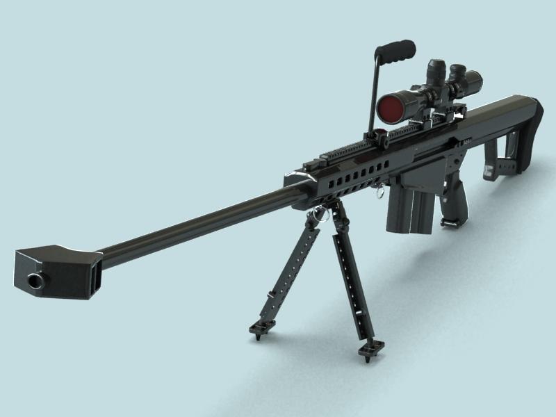 barrett m82 sniper rifle 3d model 3ds max fbx obj 146392