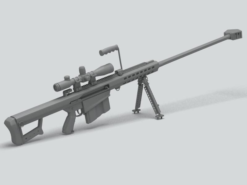 barrett m82 sniper rifle 3d model 3ds max fbx obj 146393