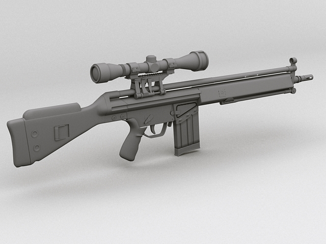 g3 assault rifle 3d model 3ds max fbx obj 123543