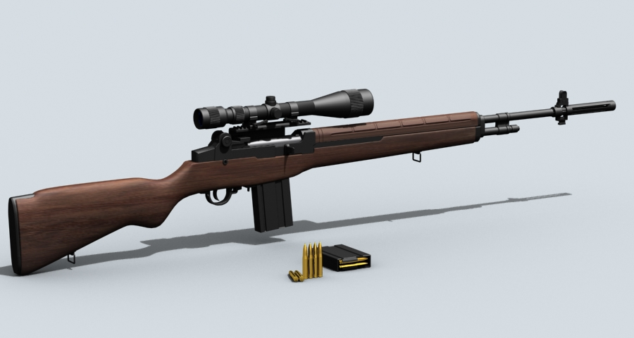 m21 sniper rifle 3d model 3ds max fbx obj 122580
