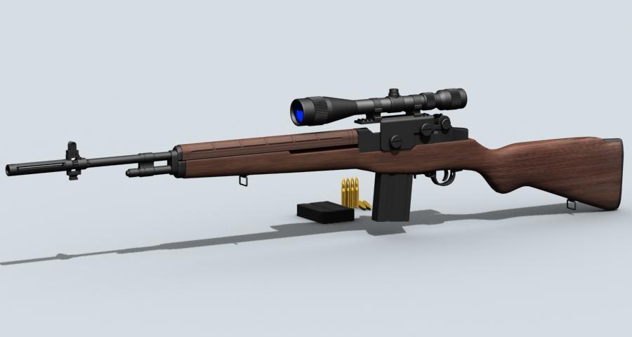 m21 sniper rifle 3d model 3ds max fbx obj 122581