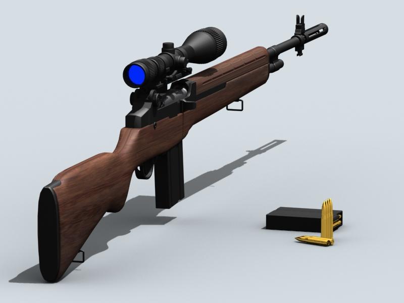 m21 sniper rifle 3d model 3ds max fbx obj 122582
