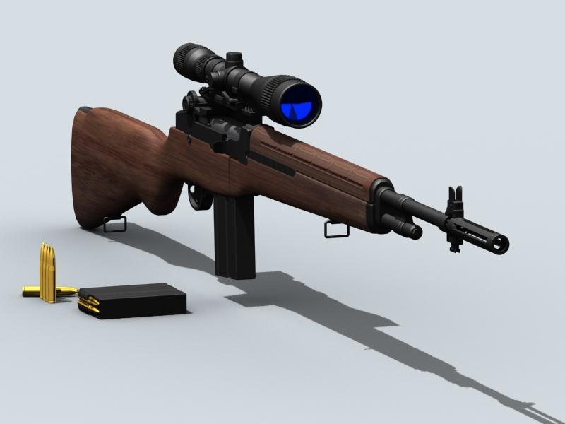 m21 sniper rifle 3d model 3ds max fbx obj 122583