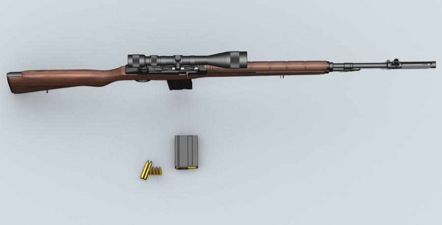 m21 sniper rifle 3d model 3ds max fbx obj 122584
