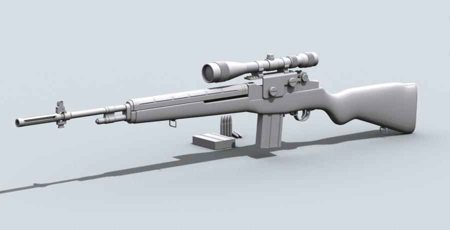 m21 sniper rifle 3d model 3ds max fbx obj 122586