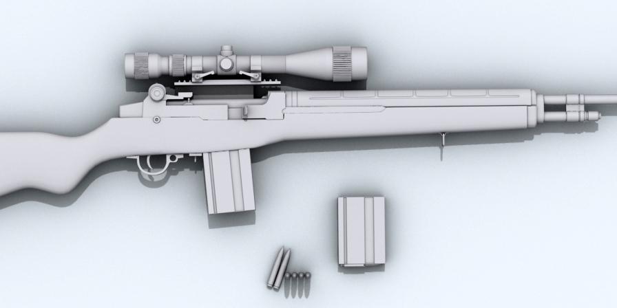 m21 sniper rifle 3d model 3ds max fbx obj 122587