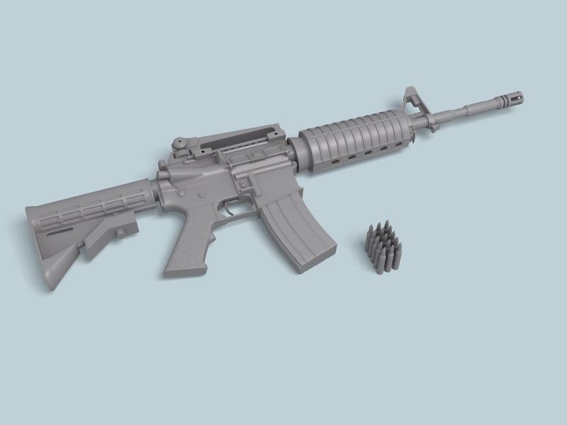 M4a1 múnla 3d 3ds max fbx obj 146384
