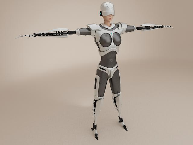 female cyborg 3d model 3ds max fbx obj 113391