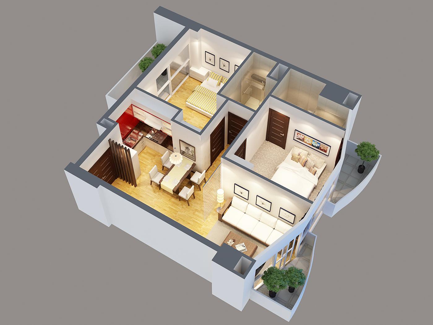 Detailed interior apartment 3d model 3d model buy for Apartment model house