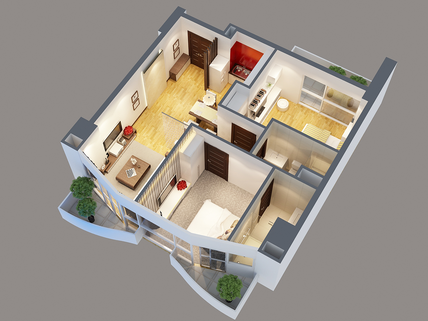 Detailed interior apartment 3d model 3d model buy for Apartment 3d
